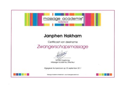 Certificaat Zwangerschapsmassage (Massage Academie)