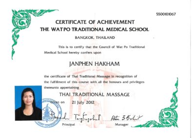 Certificate Thai Traditional Massage (English)